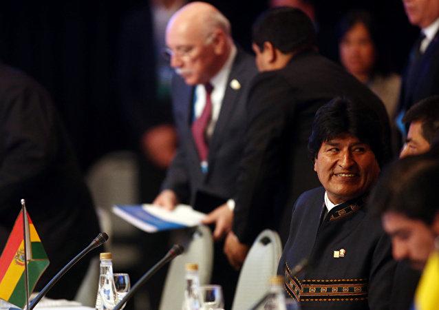 Evo Morales, presidente de Bolivia, en la cumbre del Mercosur