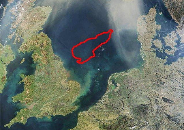 El Banco Dogger situado en la zona central del mar del Norte, a 100 km de la costa de Gran Bretaña