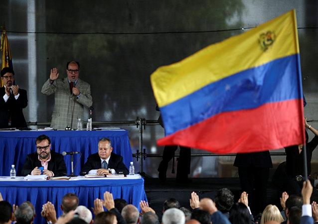 Representantes de la oposición de la Unidad Democrática de Venezuela