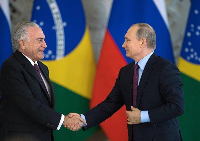 Presidente de Rusia, Vladímir Putiny el presidente Brasil, Michel Temer