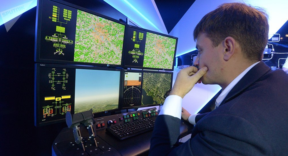 El stand del consorcio KRET durante la apertura del salón de la aviación y el espacio MAKS-2015