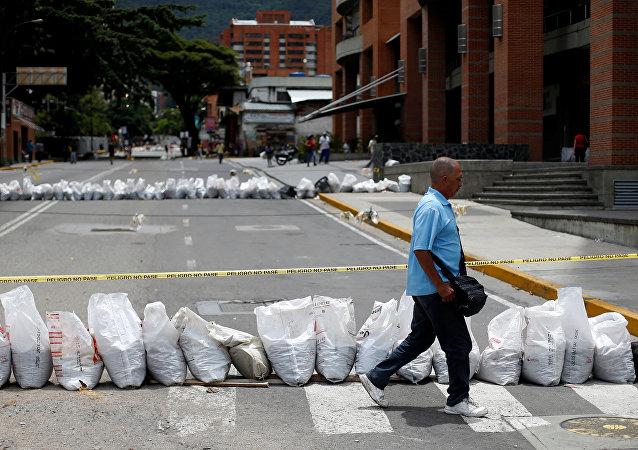 Huelga opositora en Caracas, Venezuela