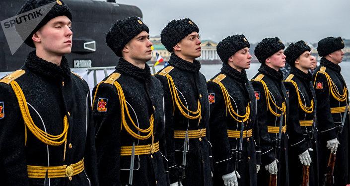 Marineros de la flota submarina de Rusia