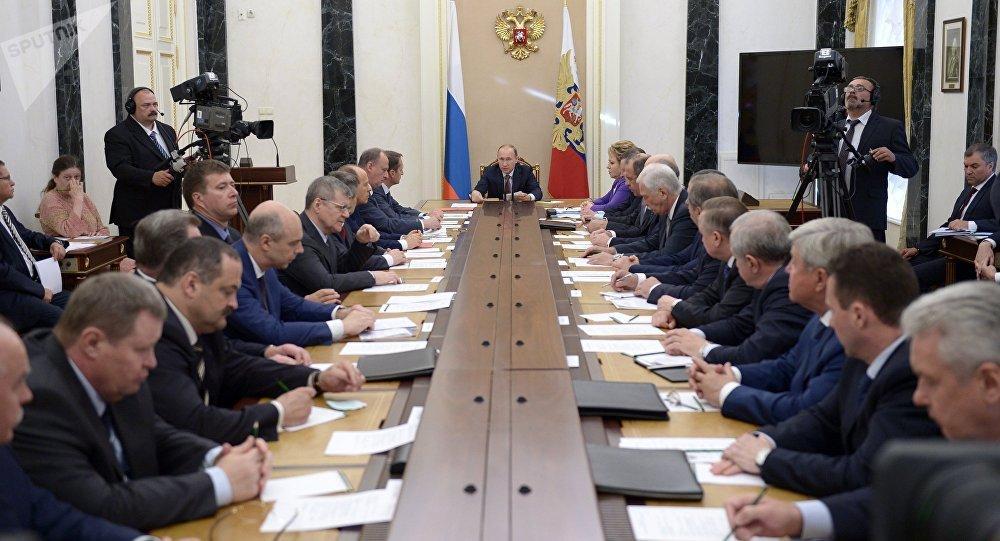 El presidente de Rusia, Vladímir Putin, en la reunión del Consejo nacional de Seguridad