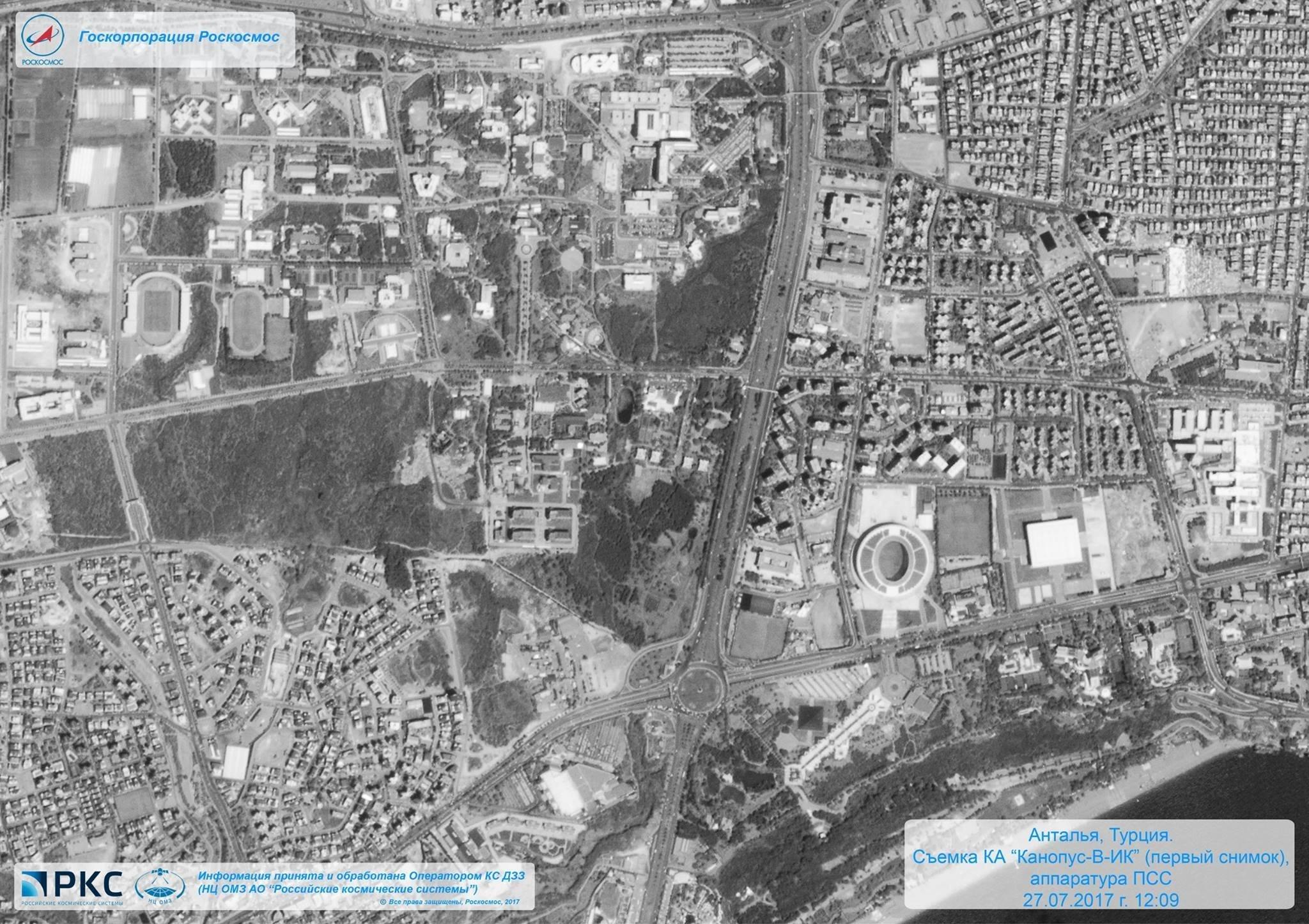 Antalya, en Turquía, vista el 27 de julio de 2017 por la cámara pancromática del satélite ruso Kanopus-V-IK