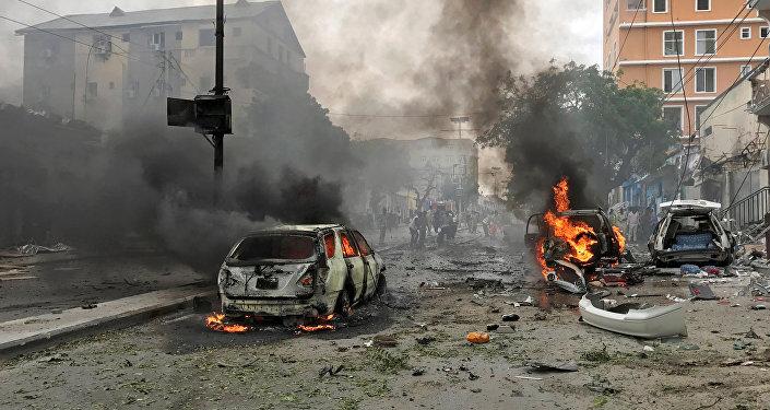 La explosión de un coche bomba en Mogadiscio (archivo)