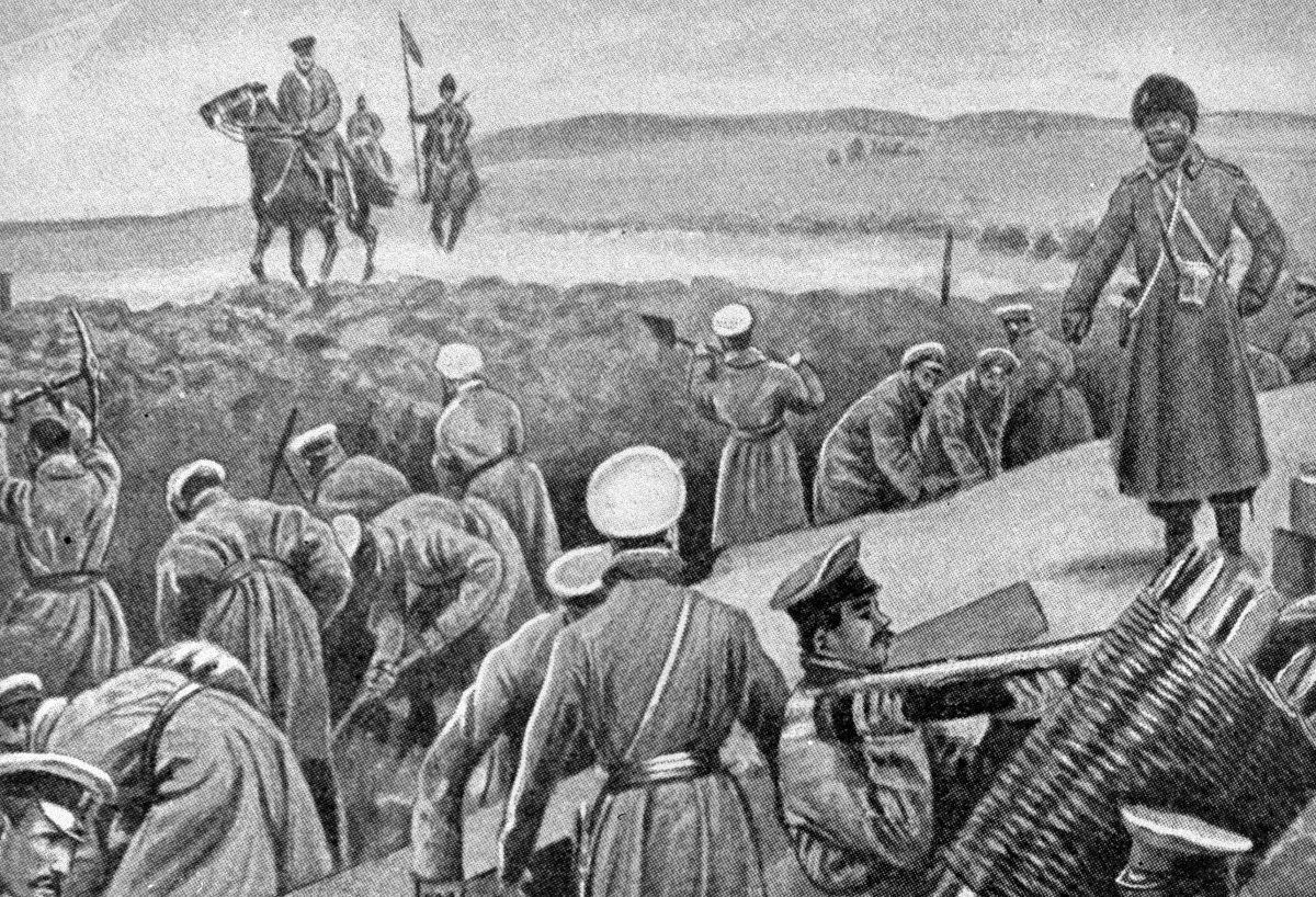 Escena de la guerra ruso-japonesa (1904-1905)
