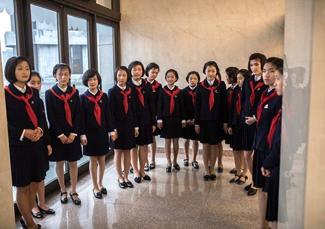 Las estudiantes en Pyongyang
