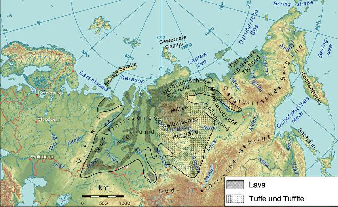 Extensión de las Siberia las escaleras siberianas creada por las masivas erupciones de finales del período Pérmico, hace 252 millones de años