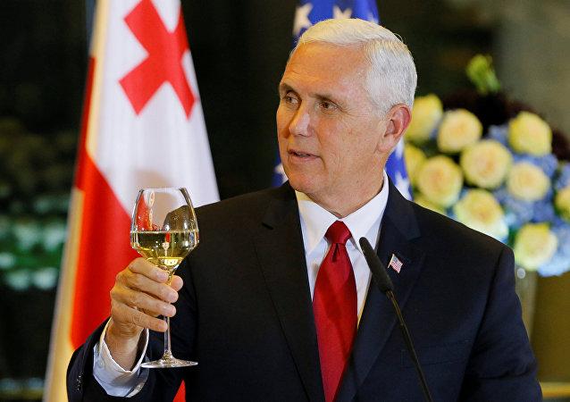 Mike Pence, vicepresidente de EEUU, durante su visita a Georgia