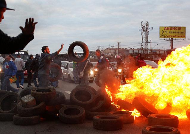 Protestas contra Michel Temer, presidente de Brasil, en Sao Paolo