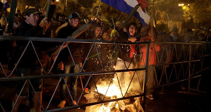 Campesinos protestando en Asunción, Paraguay (archivo)