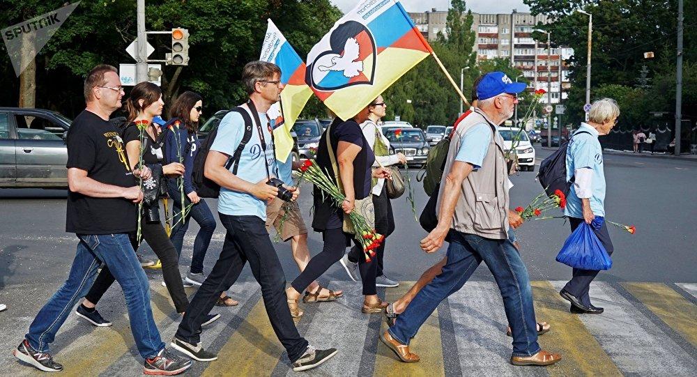Participantes del rally Berlín-Moscú