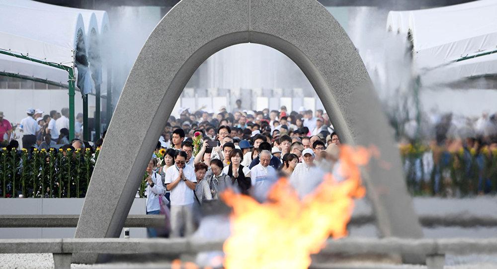 La ceremonia en Parque de la Paz, Hiroshima
