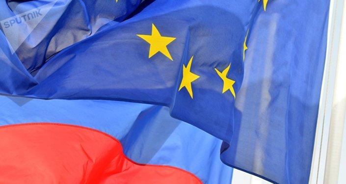 Las banderas de la UE y Rusia