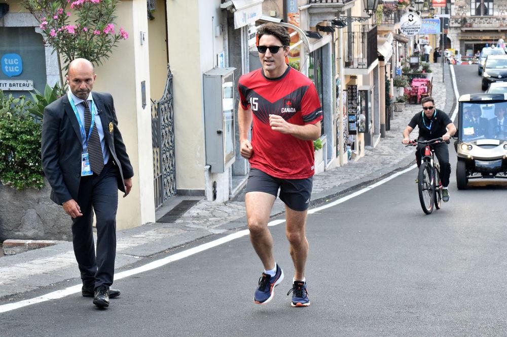 El primer ministro de Canadá, Justin Trudeau, durante una carrera en Taormina, Italia, durante la cumbre G7