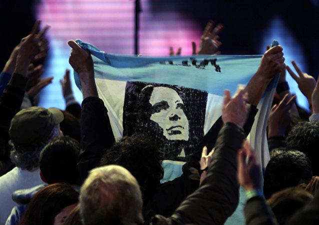 Seguidores de la expresidenta argentina Cristina Fernández de Kirchner