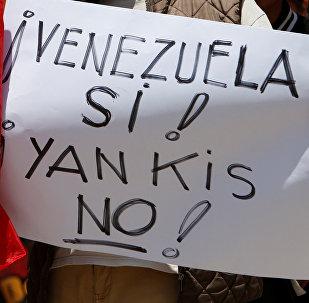 Una manifestación en apoyo al presidente de Venezuela, Nicolás Maduro, en México