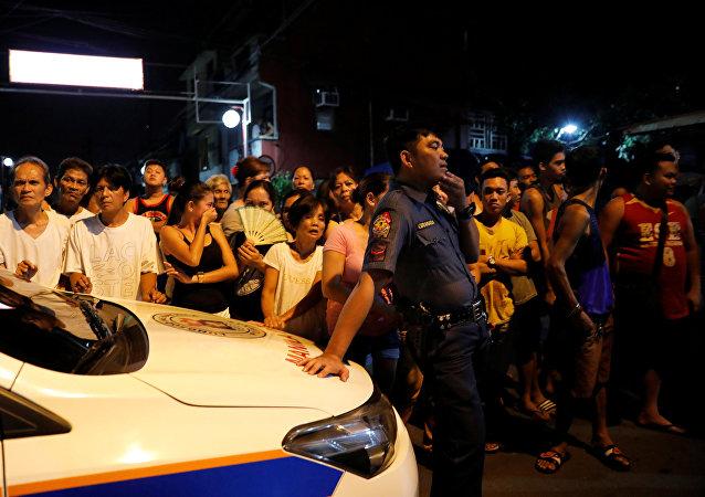 Una redada antidrogas en Manila, Filipinas