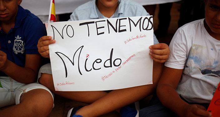 Un cartel con frase 'No tenemos miedo'