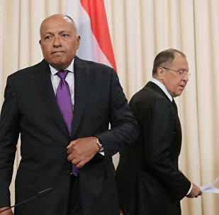 Sameh Shukri, canciller de Egipto, y Serguéi Lavrov, canciller de Rusia