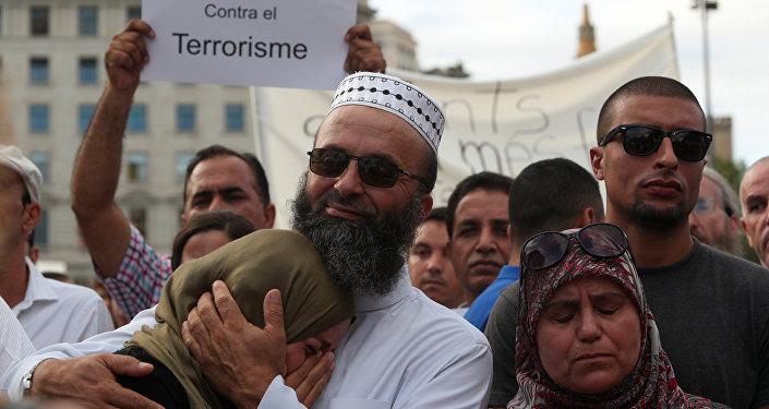 Manifestación de los musulmanes contra el terrorismo en Barcelona