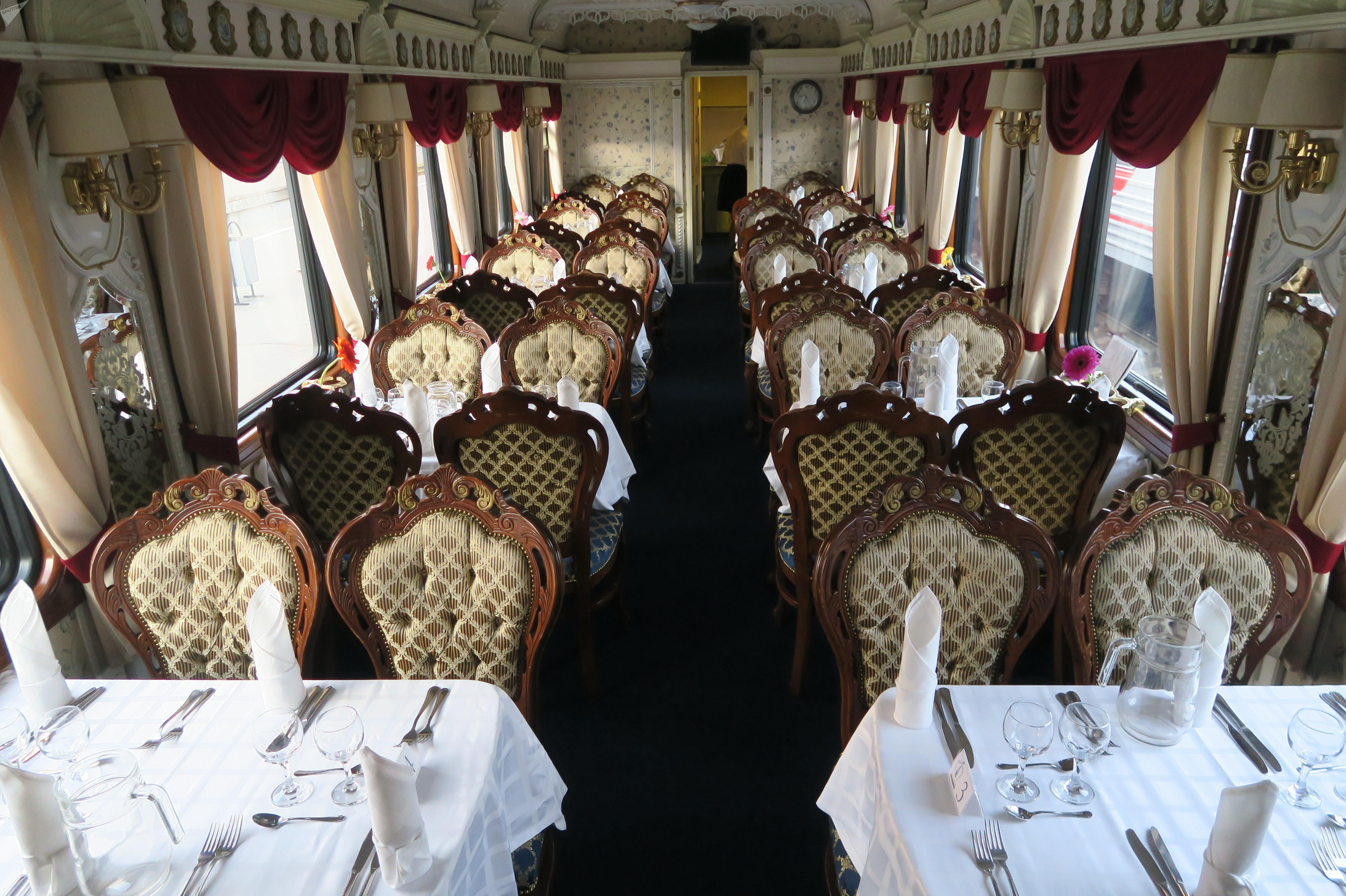Un vagón-restaurante del tren 'Rusia Imperial'