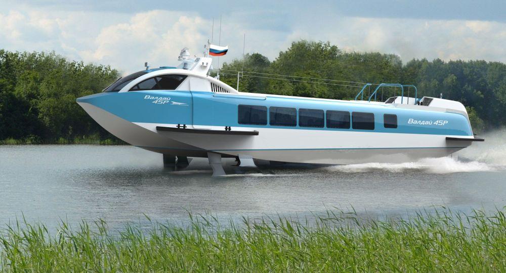 Un barco hidroala en construcción Valdai 45P
