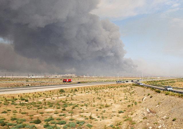 Una fuerte explosión se produce en un arsenal del Ejército azerbaiyano