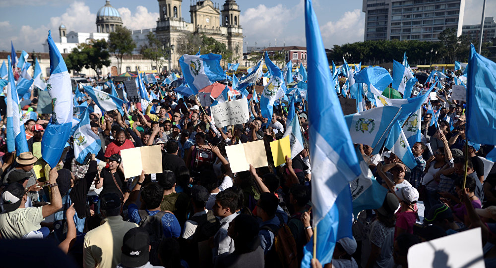Una manifestación contra el presidente de Guatemala, Jimmy Morales