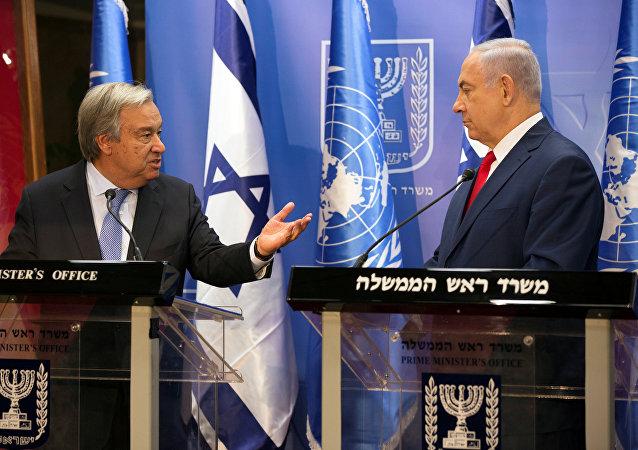 Secretario general de la ONU, António Guterres, y primer ministro de Israel, Benjamín Netanyahu