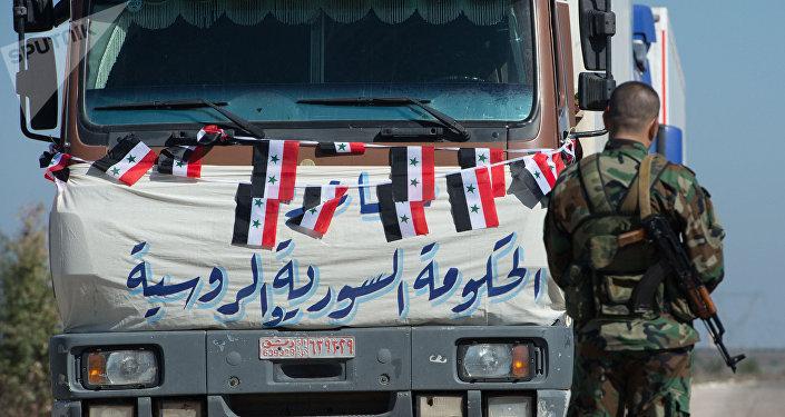 Convoy con la ayuda humanitaria para Siria