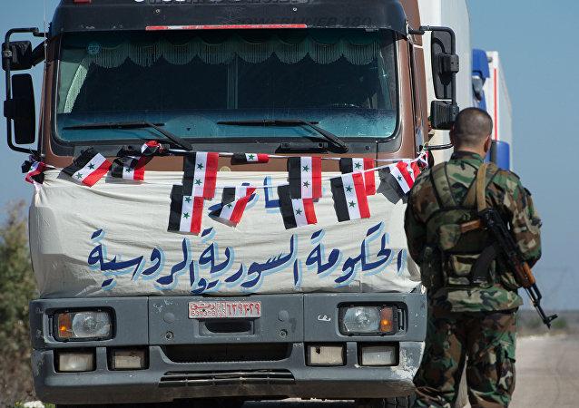 Convoy con la ayuda humanitaria en Siria