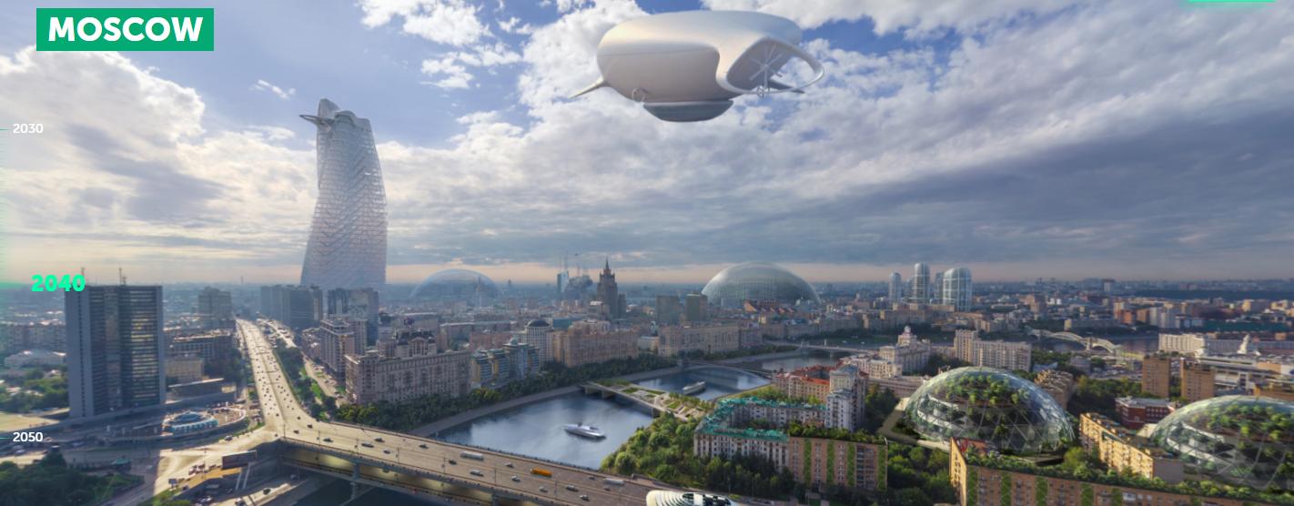 Moscú en la década de los 2040, según imagina el portal Earth 2050