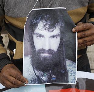 Un cartel con la imagen de Santiago Maldonado (archivo)