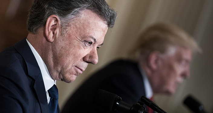 Juan Manuel Santos, presidente de Colombia, y Donald Trump, presidente de EEUU