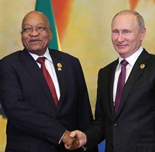 El presidente sudafricano, Jacob Zuma, y el presidente ruso, Vladímir Putin