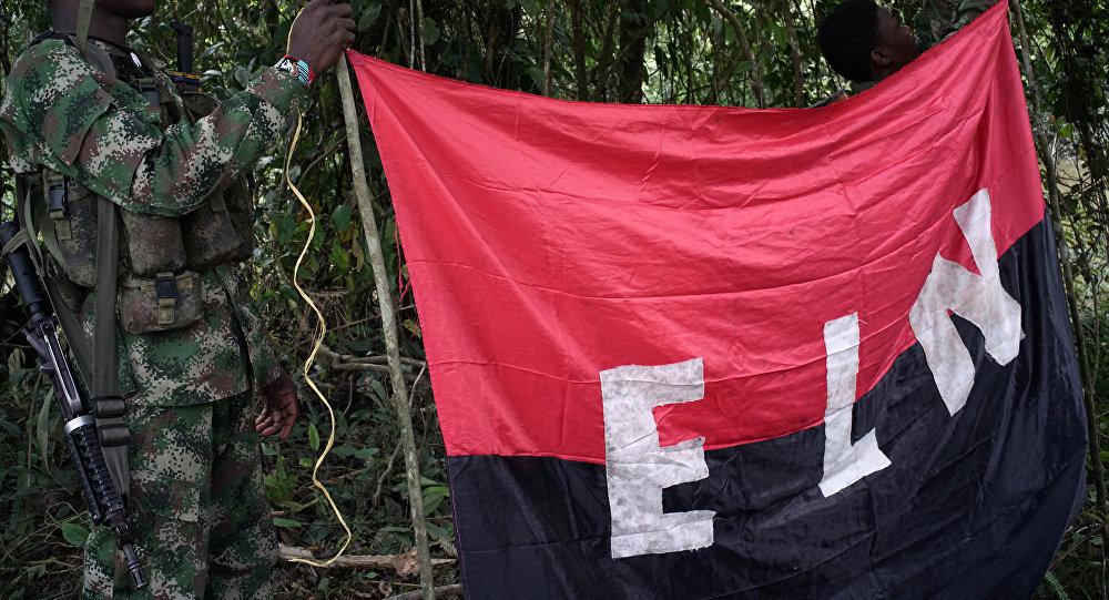 Los rebeldes del Ejército de Liberación Nacional (ELN) sostienen un estandarte