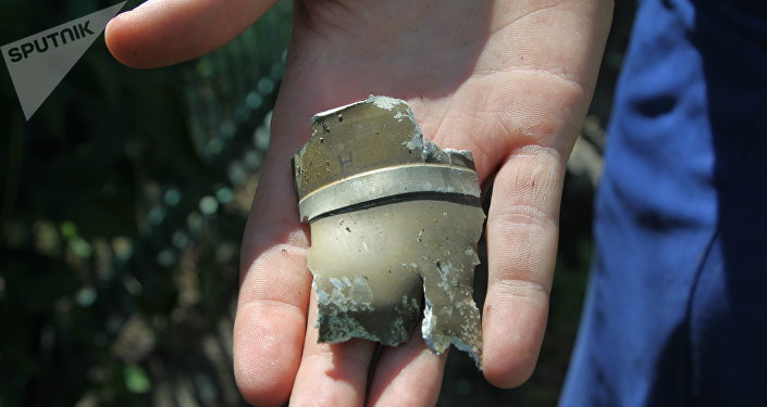 Un fragmento de proyectil en Donetsk, Ucrania