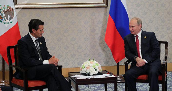 Presidente de México, Enrique Peña Nieto, y presidente de Rusia, Vladímir Putin