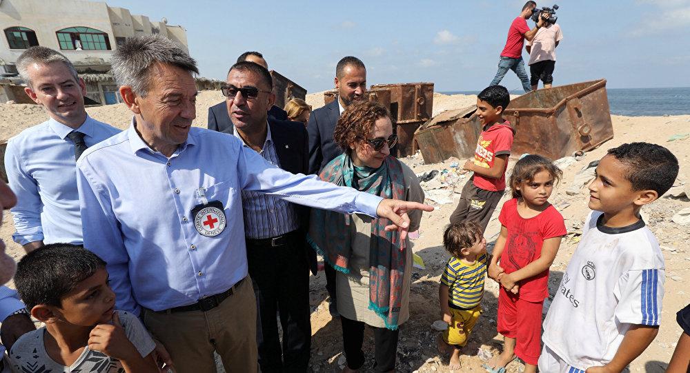El presidente del Comité Internacional de la Cruz Roja, Peter Mauer, en Gaza