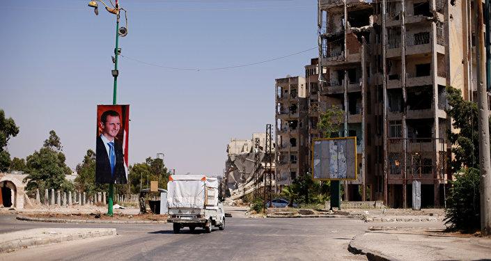 El retrado de Bashar Asad, presidente sirio, en la ciudad de Homs, Siria (archivo)