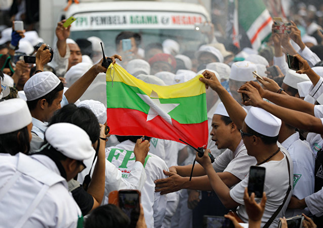 La bandera de Birmania durante las manifestaciones en apoyo de los rohinyás