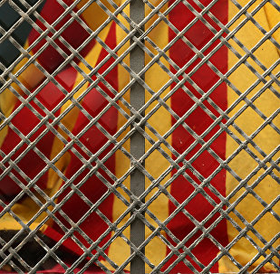 La bandera de Cataluña detrás de la reja
