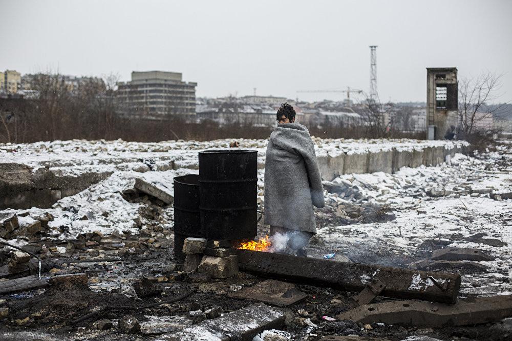 Una foto de la serie Refugiados en Belgrado
