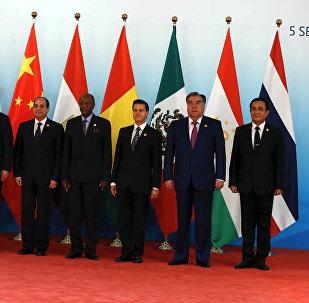 Líderes de los BRICS y los países invitados a la IX cumbre del grupo, Xiamen, China, 5 de septiembre de 2017