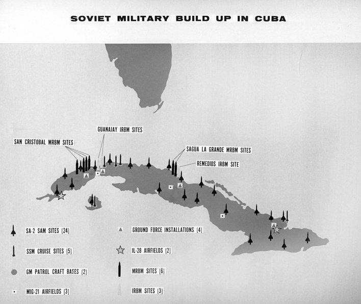 Mapa de los misiles soviéticos en Cuba, octubre 1962