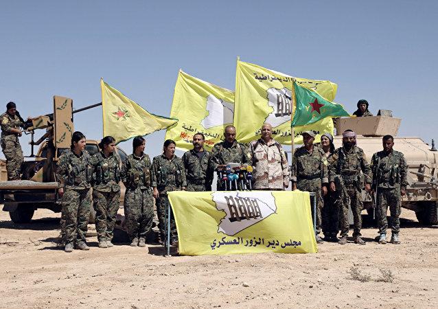 Los miembros de las Fuerzas Democráticas de Siria (FDS) en la región de Deir Ezzor, Siria