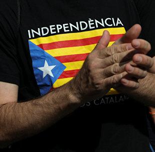 Bandera de Cataluña en una camiseta