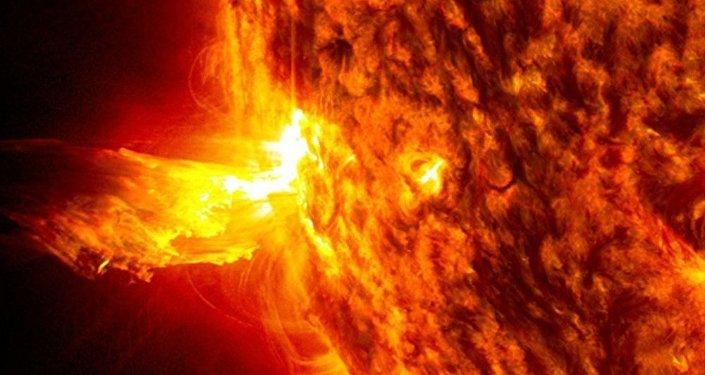 Fulguración solar (ilustración gráfica)